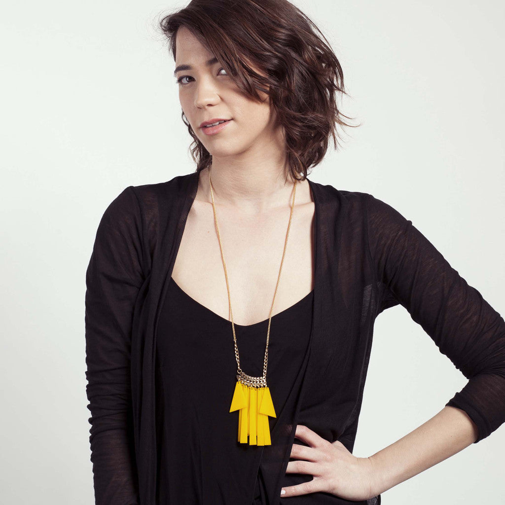 Nani- Long Yellow Statement, Fringe Necklace