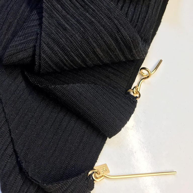 Lenny- Black Textured Scarf with Gold elements