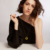 LIMAO- Long yellow circles necklace
