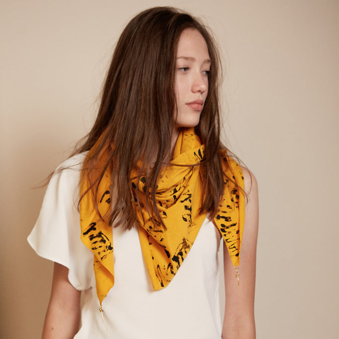 Lenny- Yellow Handprinted Scarf with Gold elements