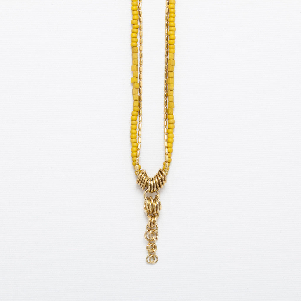 Miyuki- Yellow beaded long necklace