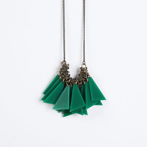 Tutu- Long Green Statement Necklace