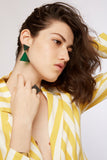 Bang- Green Statement Triangle Earrings