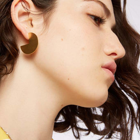 Pepi- Large Gold Round Earring