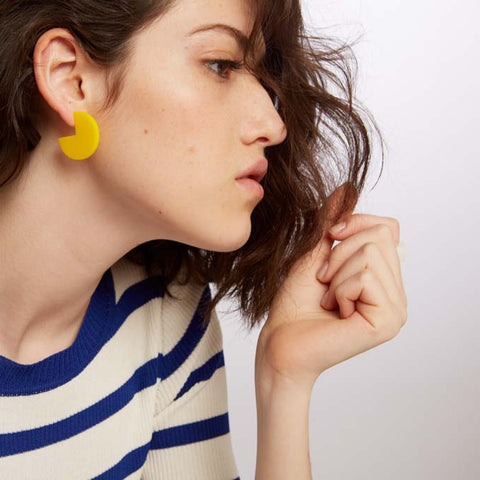 Pepi- Large Yellow Round Earring
