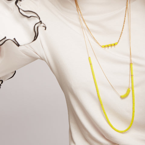 Jul- Yellow Silicone beads necklace