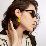 Cit - Yellow Oval Statement Earring