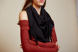 Lenny- Black Cotton Scarf with Gold elements