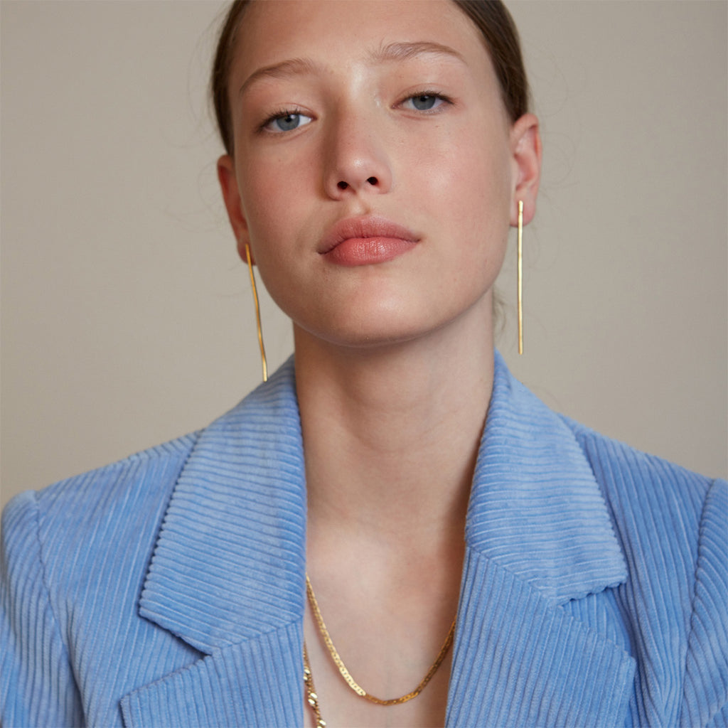 LAIN- Gold Line Statement Earrings
