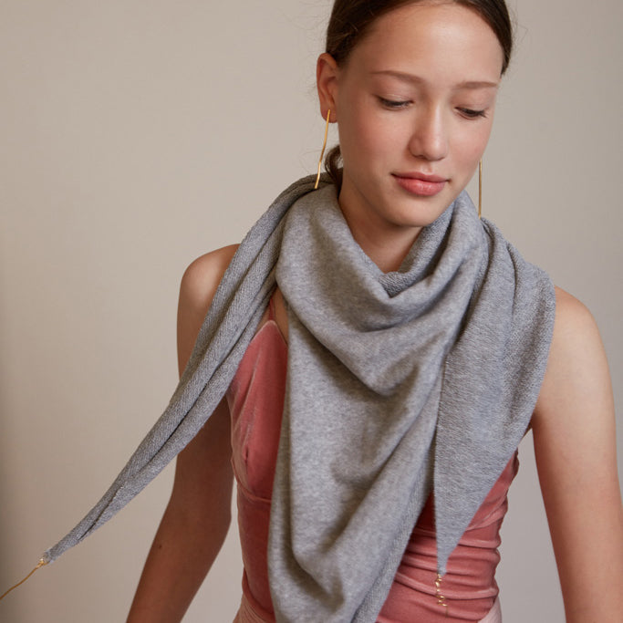 Lenny- Gray Cotton Scarf with Gold elements