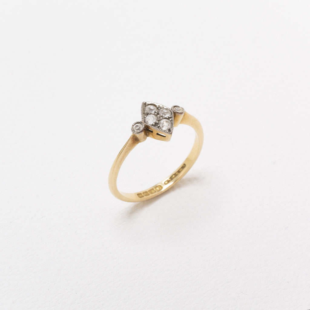 18K Gold, Vintage Ring, With Diamonds