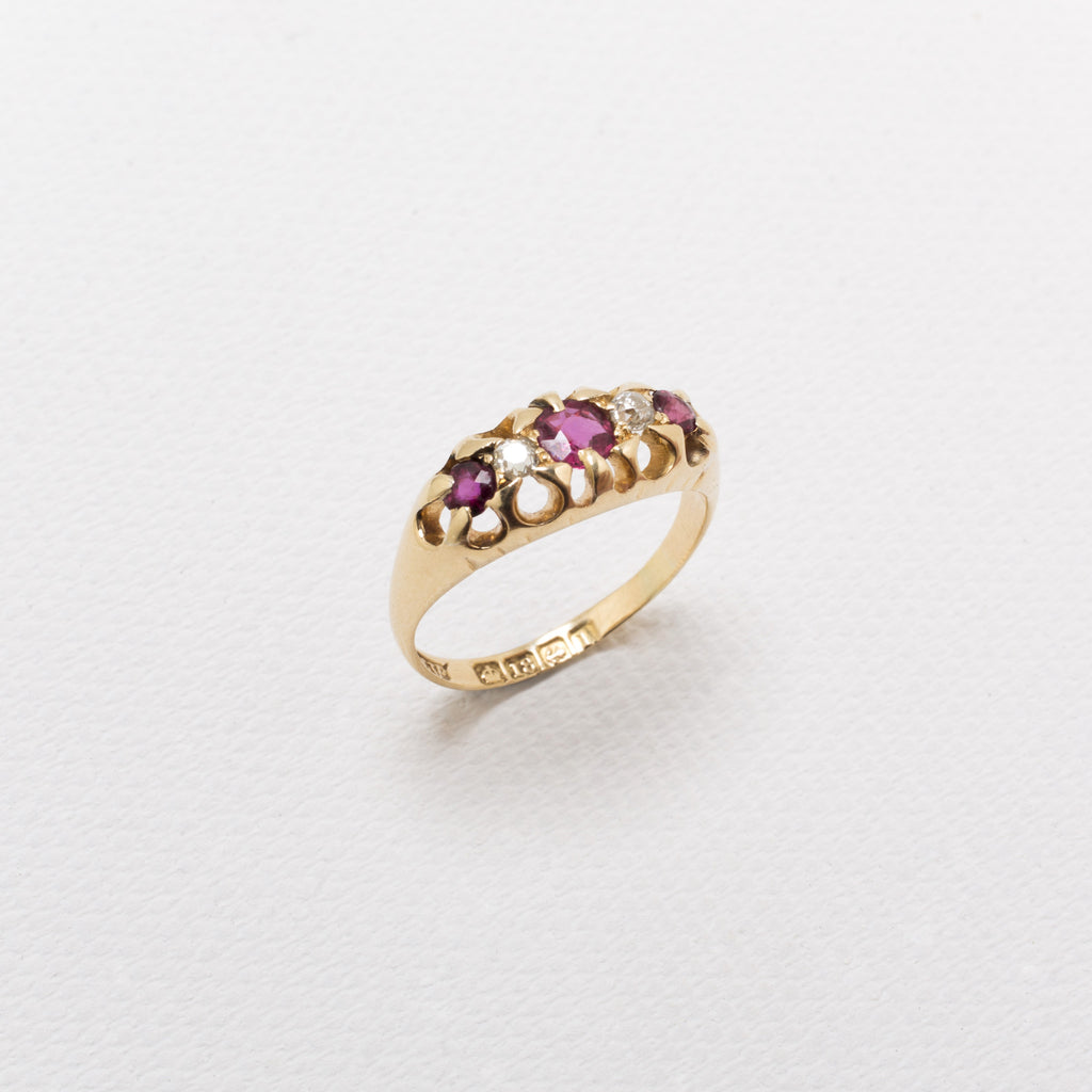 18K Gold, Vintage Ring, With Ruby and Diamonds