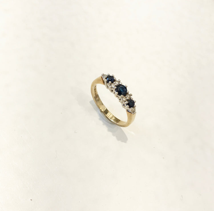 9K Gold, Vintage Ring, With Sapphire and Diamonds