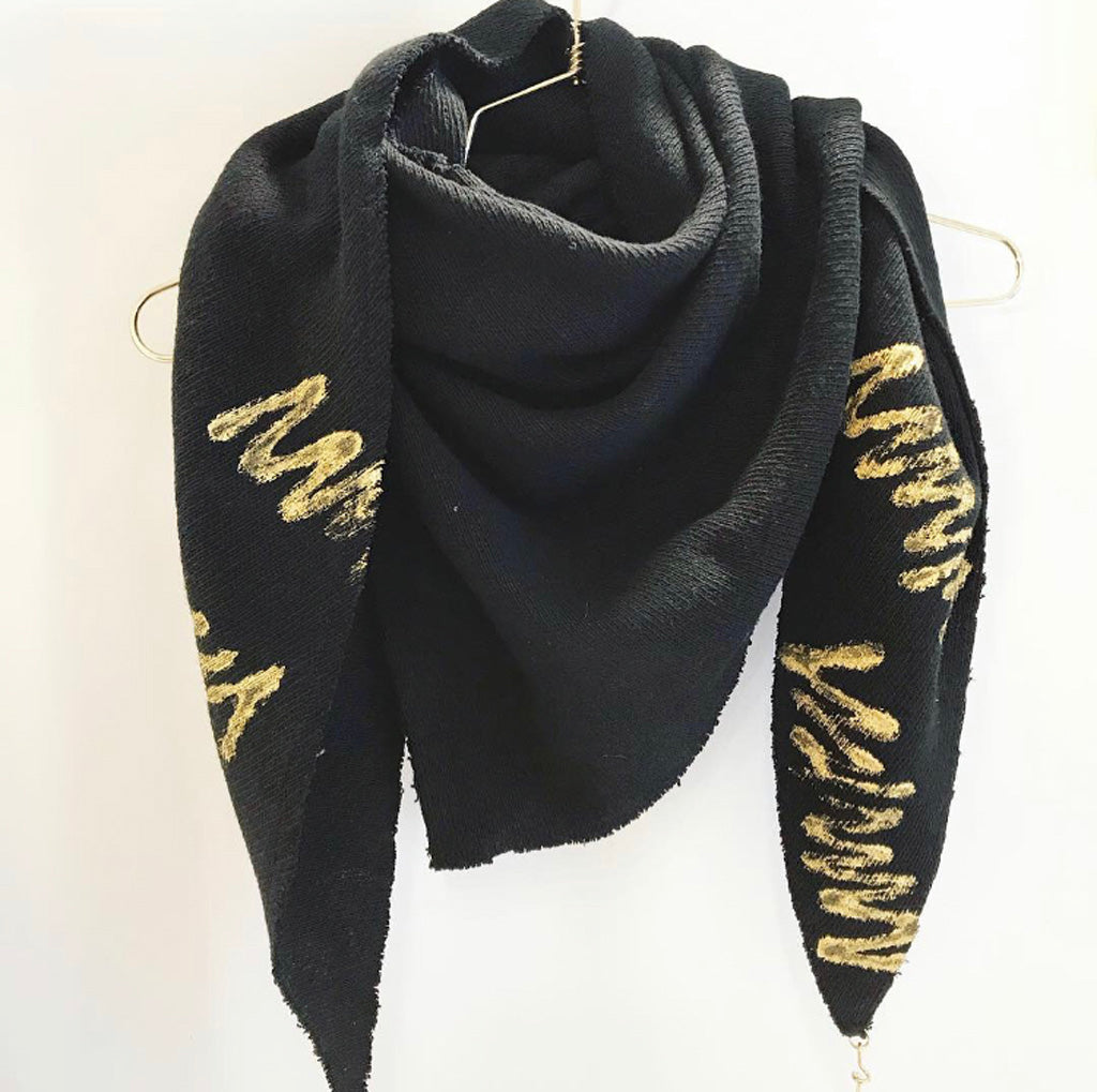 Lenny- Chunky Black Printed Scarf with Gold elements