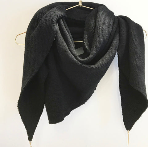 Lenny- Chunky Black Scarf with Gold elements