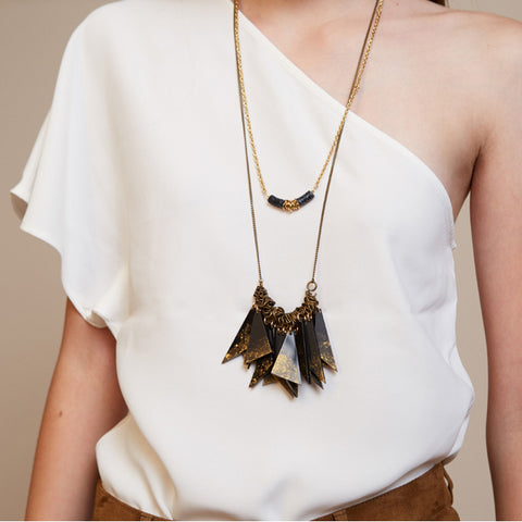 Segi- Black Triangles Statement Necklace