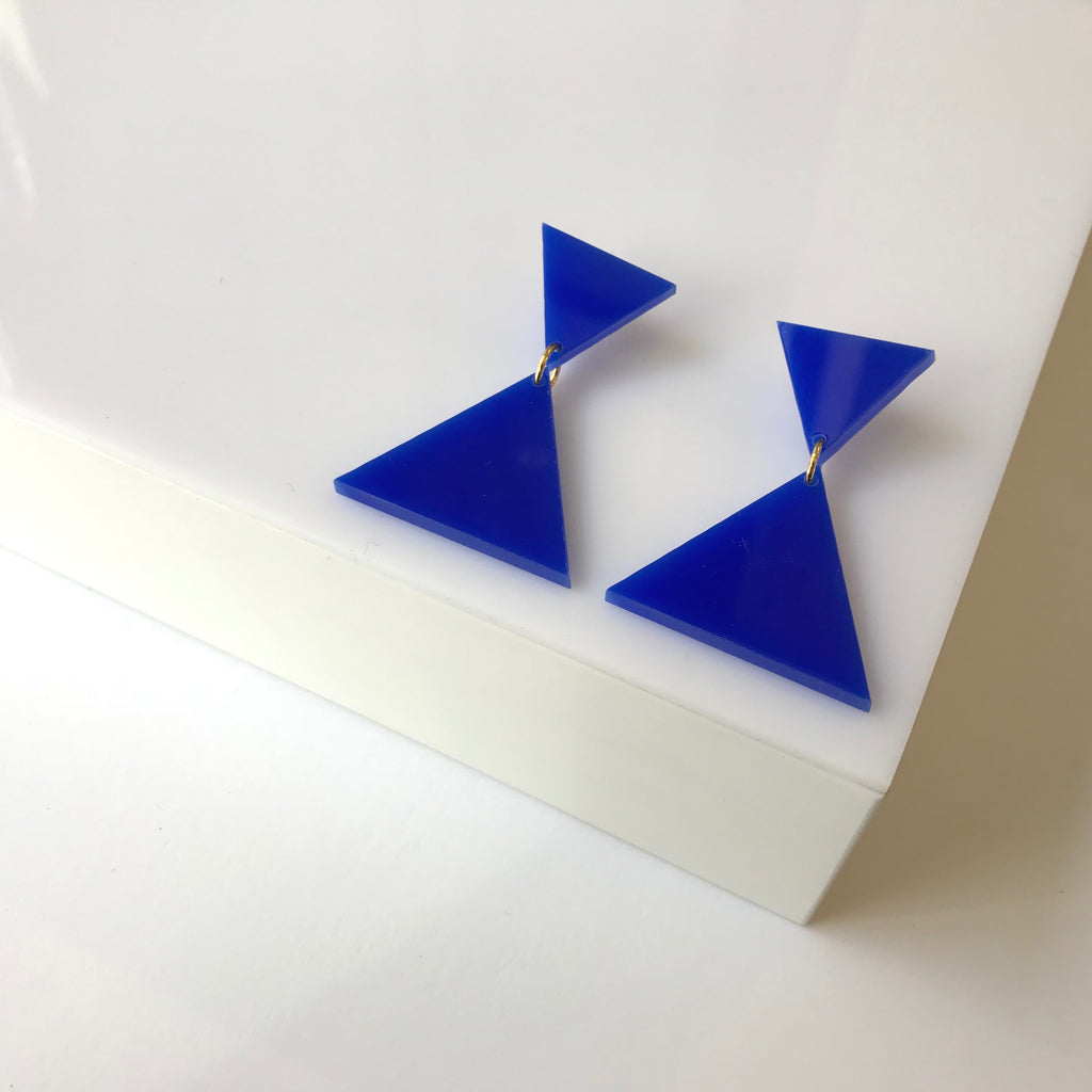 Bang- Blue Statement Triangle Earrings