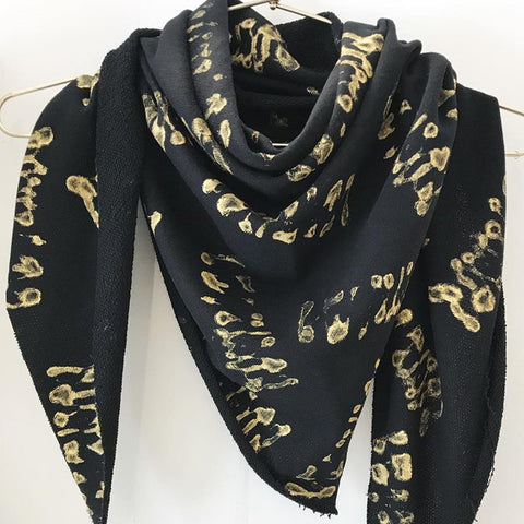 Lenny- Black and Gold Handprinted Scarf with Gold elements