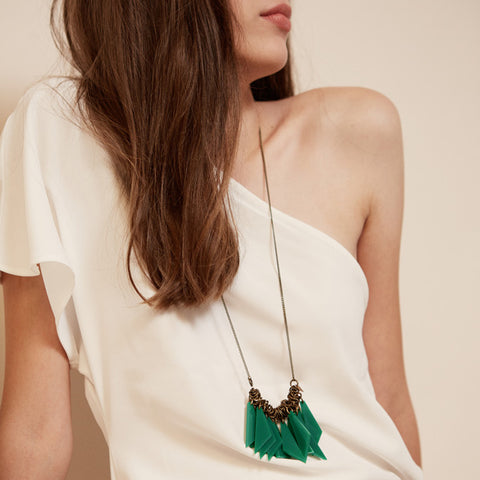 Segi- Green Triangles Statement Necklace