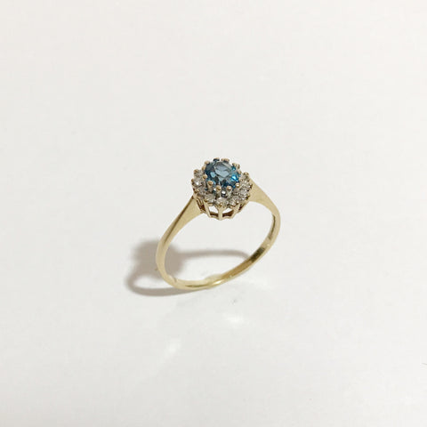 14K Gold, Vintage Ring, With Turquoise stone and Diamonds