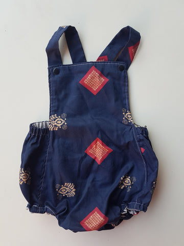 Vintage navy patterned romper