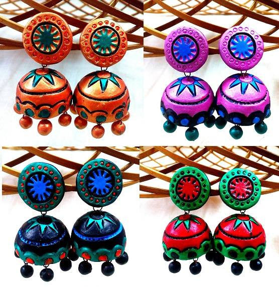 Terracotta Jhumka Earrings after adding colors & decorations