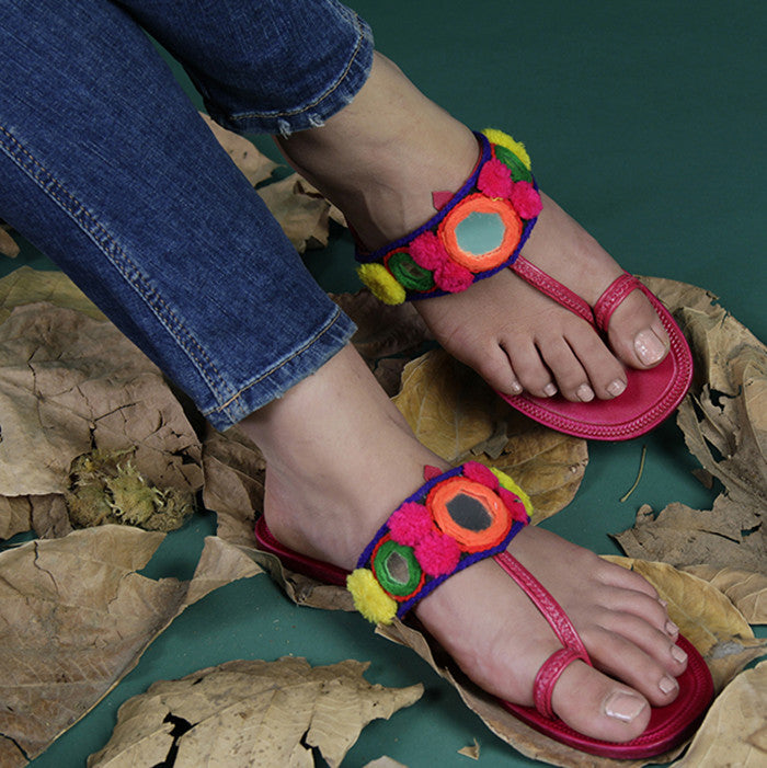 New-look kohlapuri slippers with embellishments from The Loom.