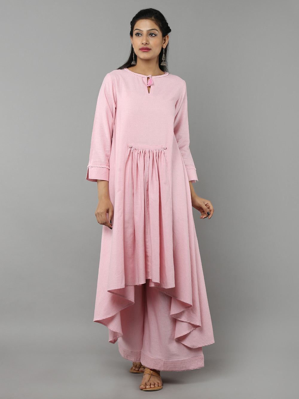 Pastel pink kurta-palazzo set from The Loom