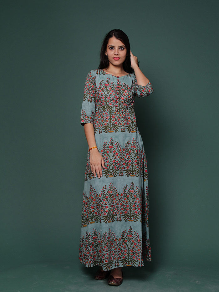 Multicolor Hand Block Printed Cotton Dress