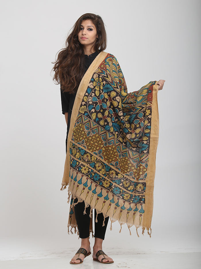 Multicolor Stripes Cotton Kalamkari Dupatta