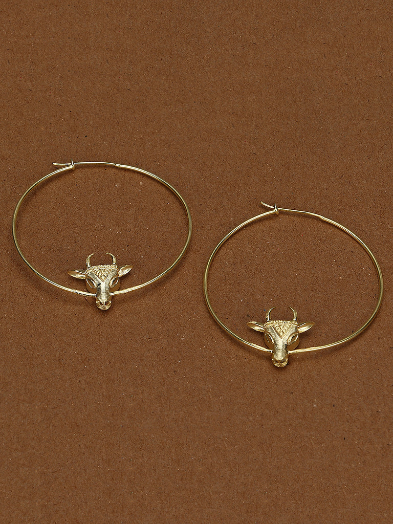 Cow Hoops Brass Earrings