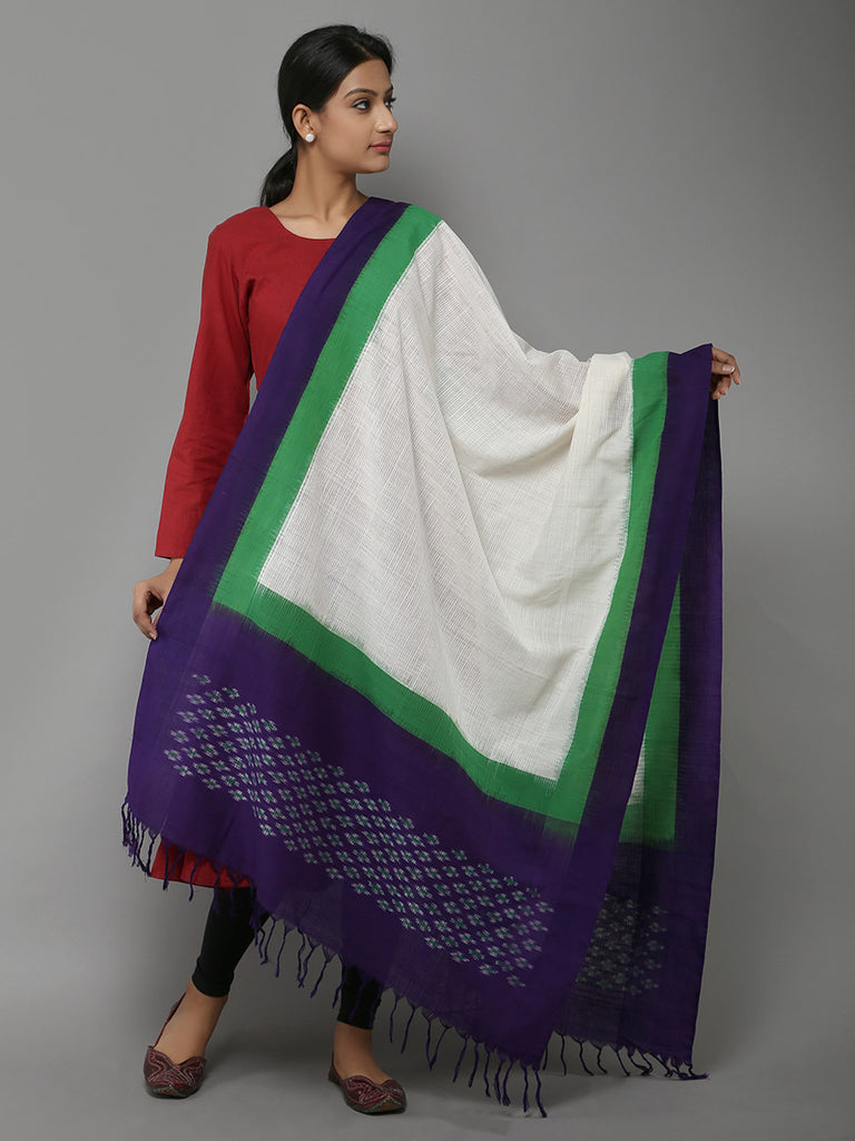 White Purple Missing Ikat Cotton Dupatta