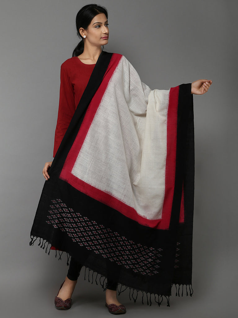 White Pink Missing Ikat Cotton Dupatta