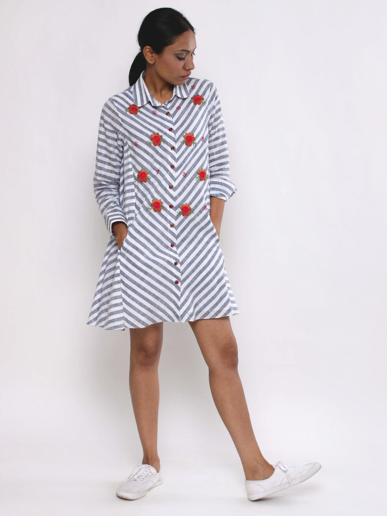 Blue White Cotton Striped Dress
