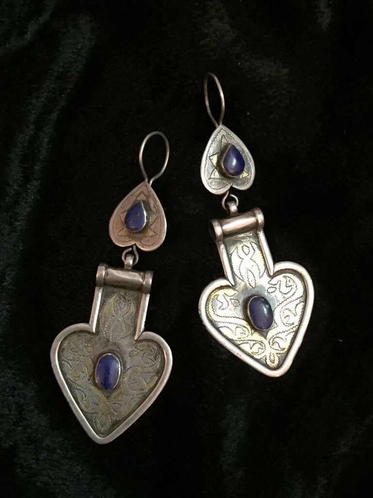 Afganistan Lapis Silver Earrings