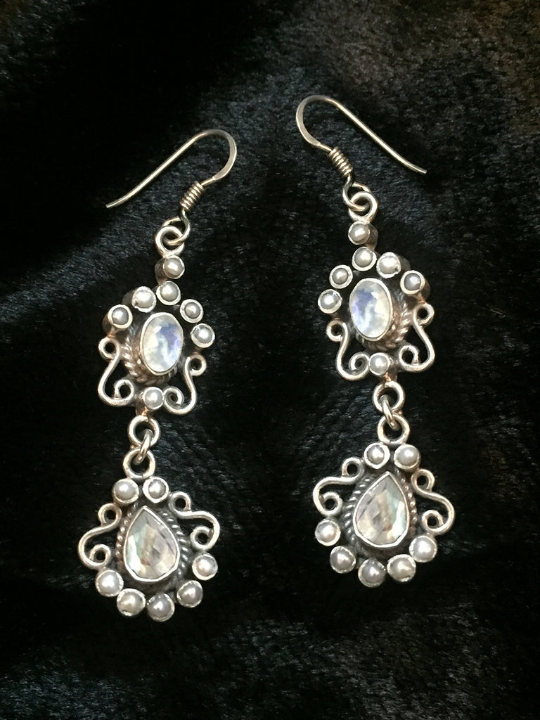 American Diamond Pearl Silver Earrings