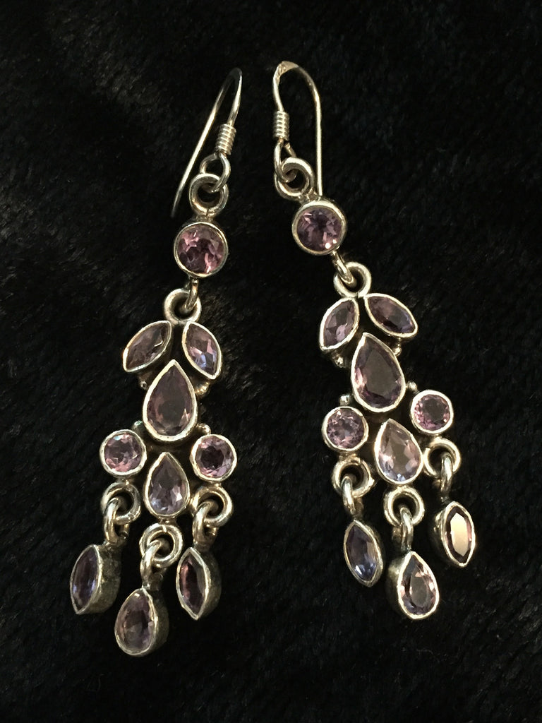 Amethyst Hanging Silver Earrings