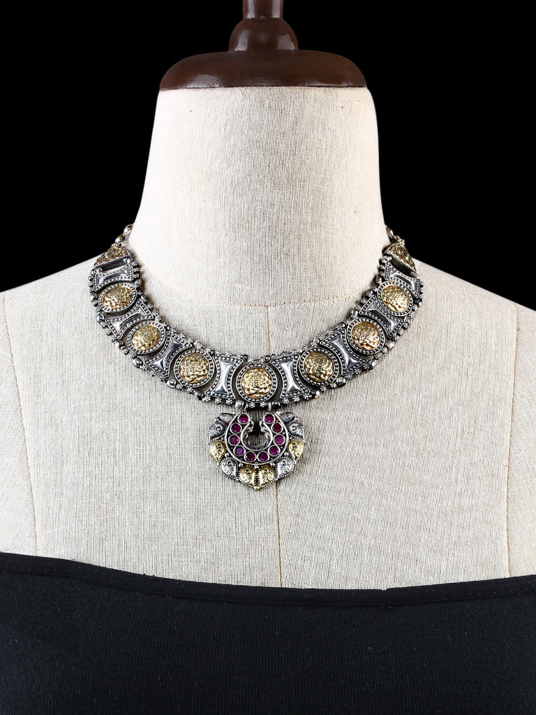 Antique Gold and Silver Tone with Pink Stones Necklace