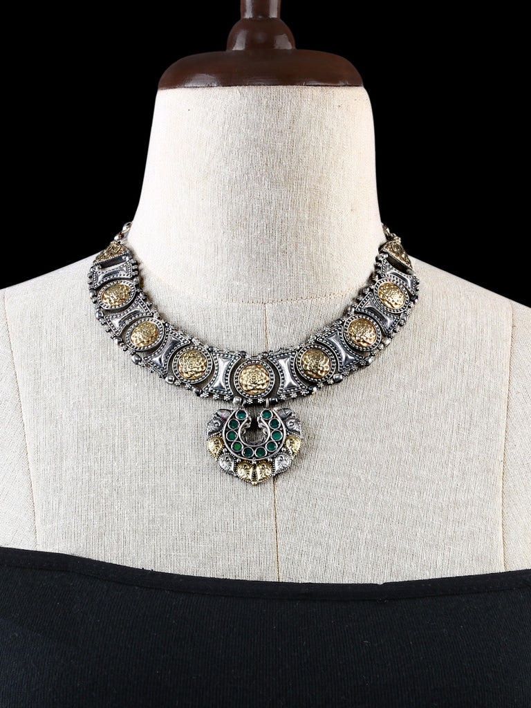 Antique Gold and Silver Tone with Green Stones Necklace