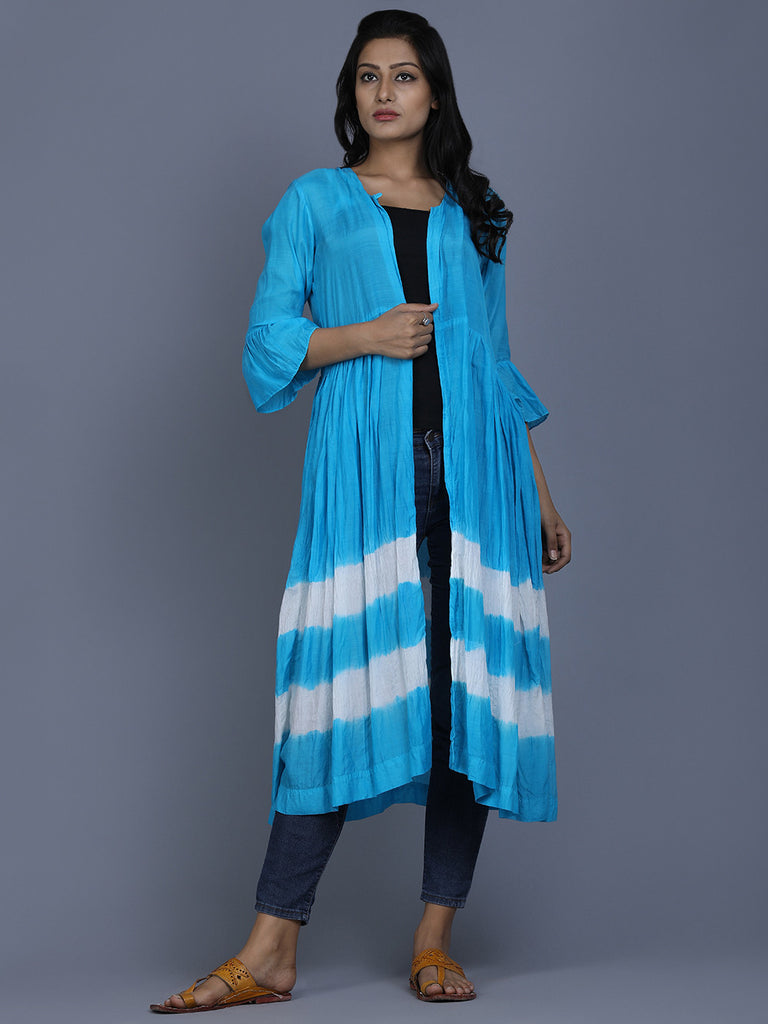 Blue White Cotton Silk Batik Cape