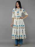 Aqua Mulmul Cotton Mogra Print Kurta with Aqua Flared Pants