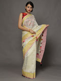 Asharfi Ivory Chanderi Cotton Silk Saree