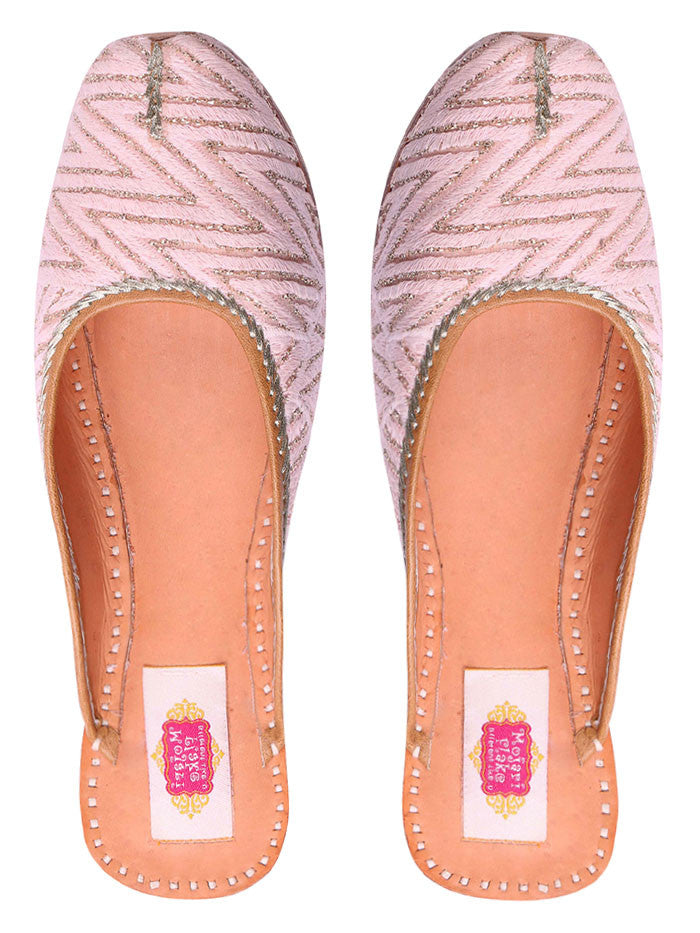 Baby Pink Leather Mojari