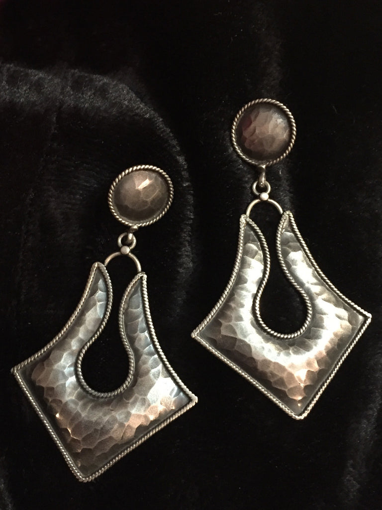 Beaten Silver Long Earrings