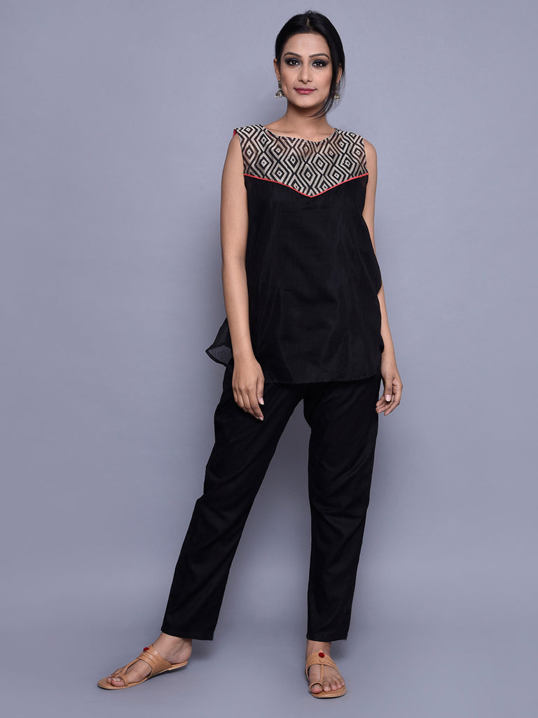 Beige Black Block Printed Chanderi Top