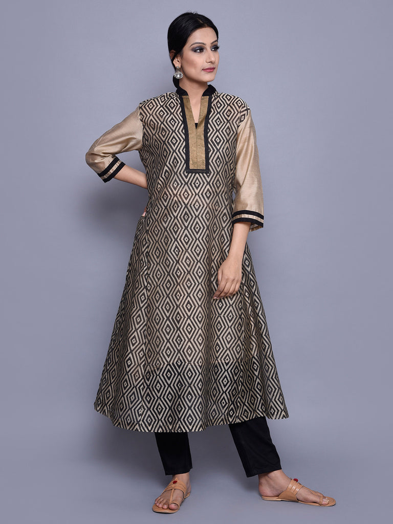 Beige Black Block Printed Kalidar Kurta with Cotton Lining