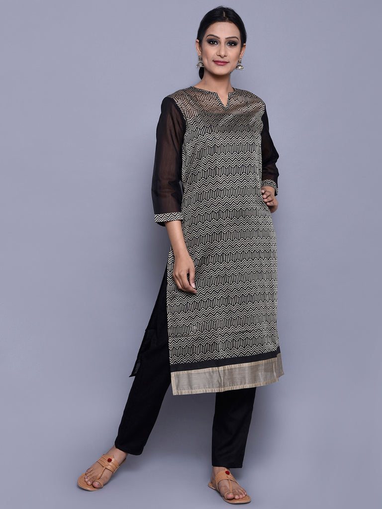 Beige Black Chanderi Block Printed Kurta with Cotton Lining