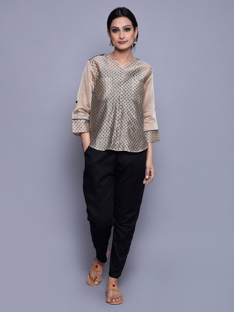 Beige Black Chanderi Block Printed Shirt