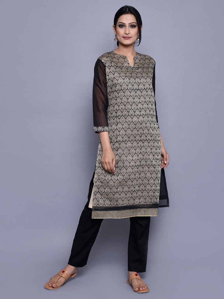 Beige Black Chanderi Lotus Block Print Kurta with Cotton Lining