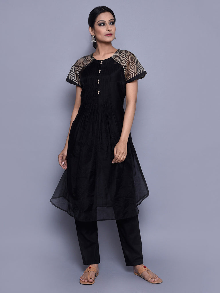 Beige Black Chanderi Pintuck Kurta with Cotton Slip